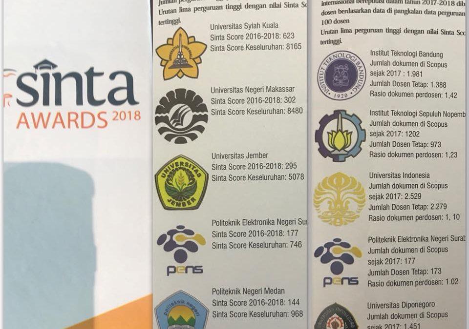 SINTA AWARDS 2018 : PENS Raih Posisi 5 Besar Institusi dengan Produktivitas Publikasi Tertinggi
