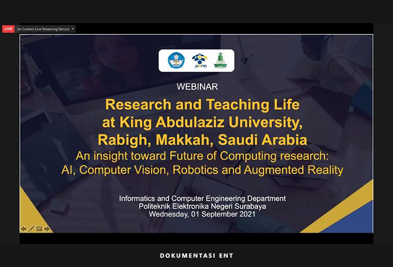 Hadirkan Guru Besar Universitas King Abdulaziz, DTIK PENS Sukses Gelar Webinar